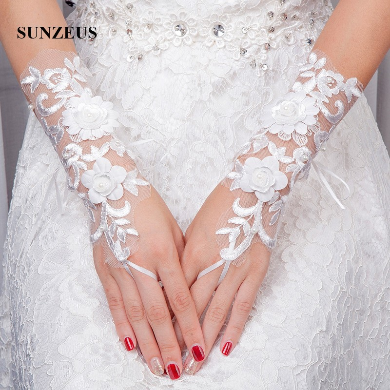 Opera Length Wedding Gloves Fingerless White Lace Gloves for Women - Bruiloft accessoires - Foto 5