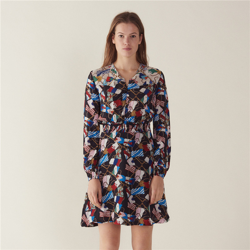 2019 New Women Long Sleeve V Neck Print Mini Dress