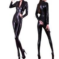 Long Sleeve Jumpsuit 2016 Hot Sexy Women Body Suits Fetish Leather Black Catwomen Jumpsuit Spandex Latex