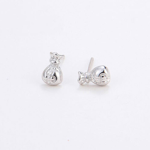 925 sterling silver Stud font b Earrings b font For Women Smooth Lucky Purse Earings Fashion
