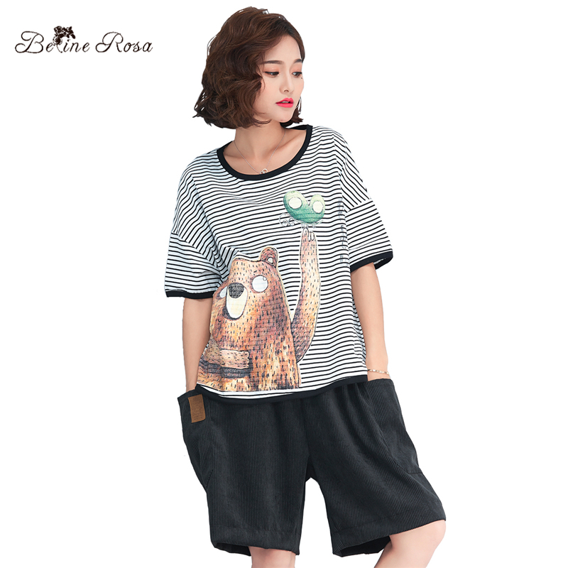 BelineRosa 2018 Womens Summer T-shirts Kawaii Bear Print Cartoon Women Clothes Casual Ladies Striped T-shirt TYW00748