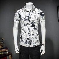 Floral Printing Short Sleeve Shirt Men 2017 Summer Slim Fit Casual Male Shirt Cotton Socail Camisa