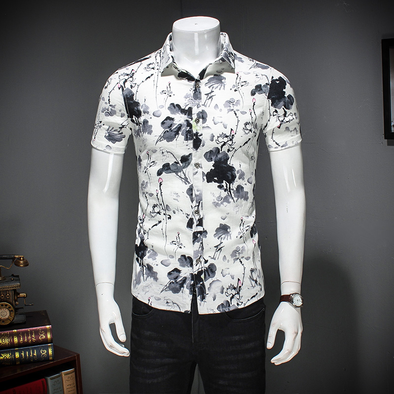 Floral Printing Short Sleeve Shirt Men 2017 Summer Slim Fit Casual Male Shirt Cotton Socail Camisa Flower Mens Dress Shirts 5XL