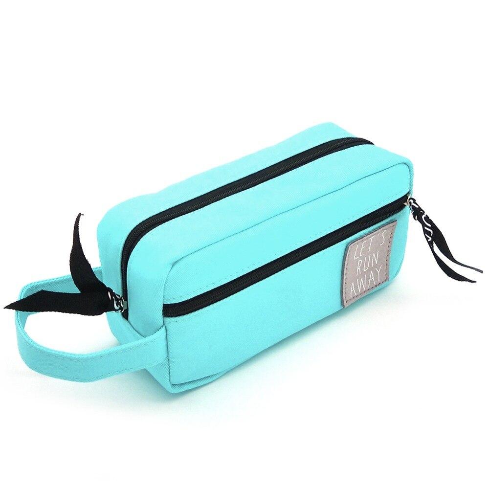 все цены на Portable Canvas Kawaii Large Pencil Bag Black Big Pencil Case Cute Office School Stationery Supplies Zipper Pencil Box