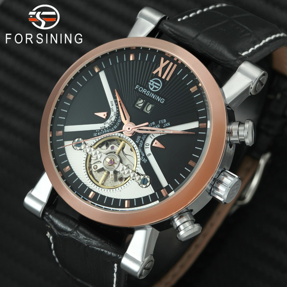 FORSINING Top Brand Luxury Tourbillon Watch Men Skeleton Dial Calendar Genuine Leather Strap Fashion Auto Mechanical Wristwatch winner men fashion black auto mechanical watch leather strap skeleton dial square shape round case unique design cool wristwatch