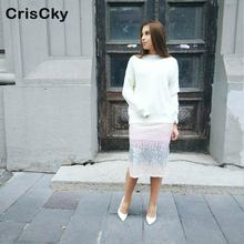 CRISCKY Fashion Skirt Womens High Waist Patchwork Sequins Slit Skirts Ladies Summer Spring Sexy Party Elastic Midi Jupe Femme