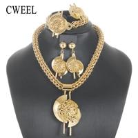 CWEEL Big Chain Jewelry Sets For Women African Beads Jewelry Set Nigerian Wedding Dubai Turkish Indian Jewellery Set
