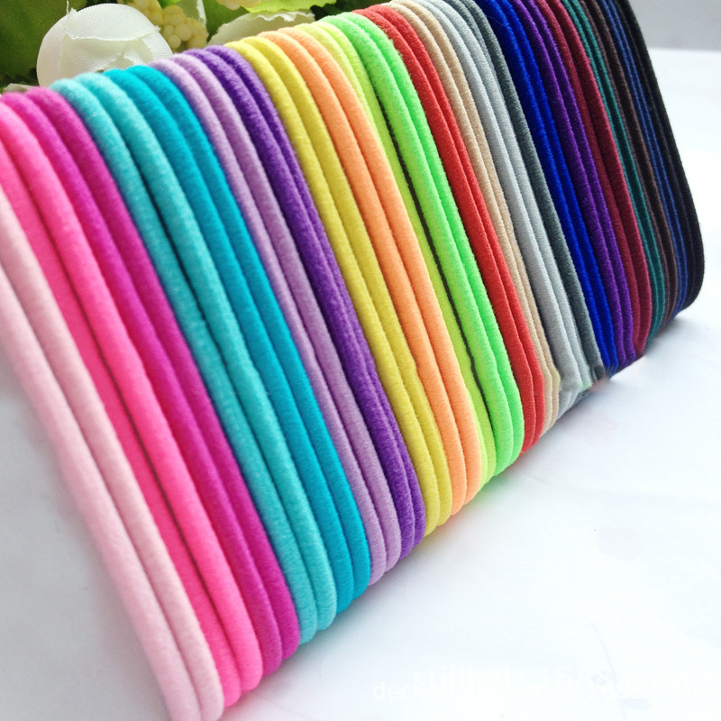 50pcs/lot Girls Elastic Hair Bands Ponytail Holder Rubber Bands Hair Accessories Women Tie Gum Size 4.5CM