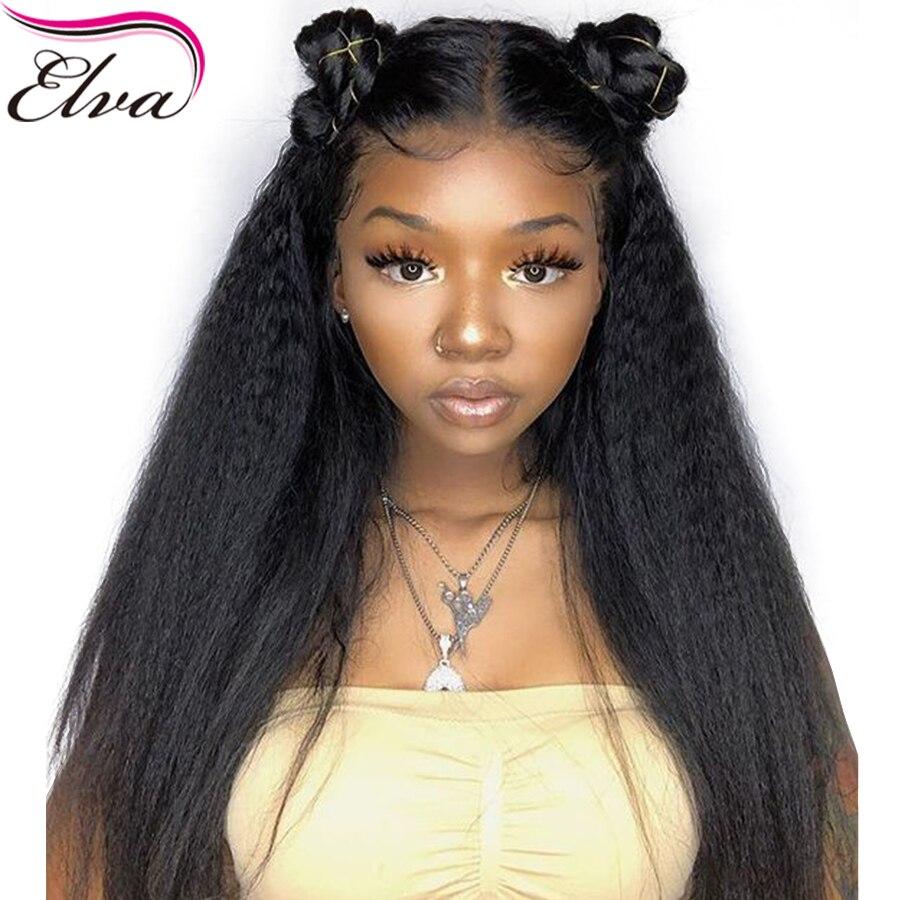 Perruques brésiliennes de cheveux humains pleine dentelle pré-cueillies avec des cheveux de bébé crépus droite Remy cheveux pleine perruque de dentelle pour les femmes noires Elva cheveux