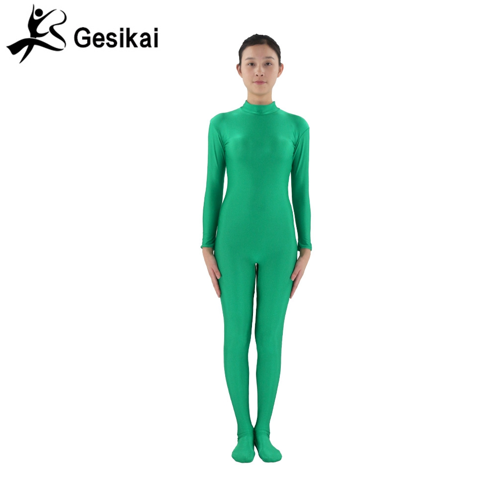 24 horas enviadas para mujer verde Unitards mangas largas Turleneck Nylon Spandex Unitard Second Skin Gymnastics Footed Costume