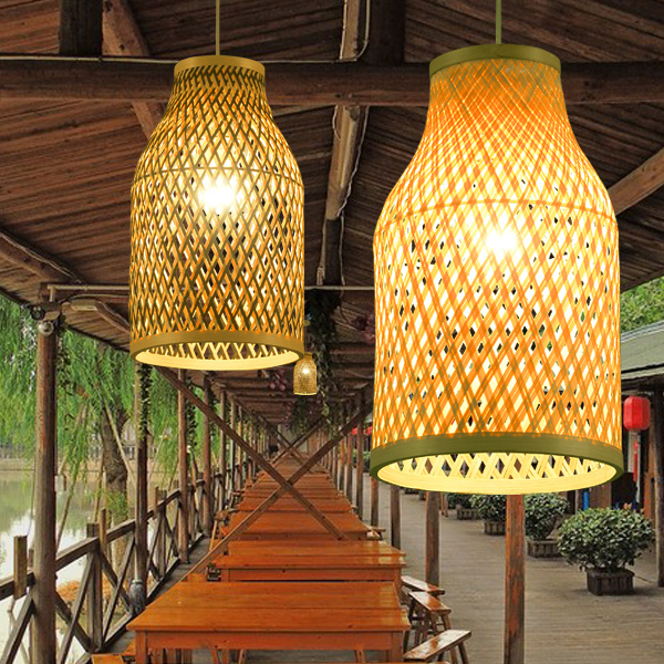 Southeast Asian Chinese antique tea bamboo rattan lamp chandelier lamp box Farmhouse Inn  Lights YA7265 stylish capital letters and quadrate embroidery pu baseball cap for women