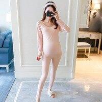 Pregnant women fashion suit spring and autumn new base underwear postpartum moon clothes body two piece pajamas