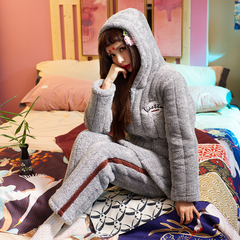 Female Winter Warm   Pajama     Set   Sweet Lovely Three-layer Thick Cotton Flannel Warm Sleepwear Home Wear Clothes Suit for Women