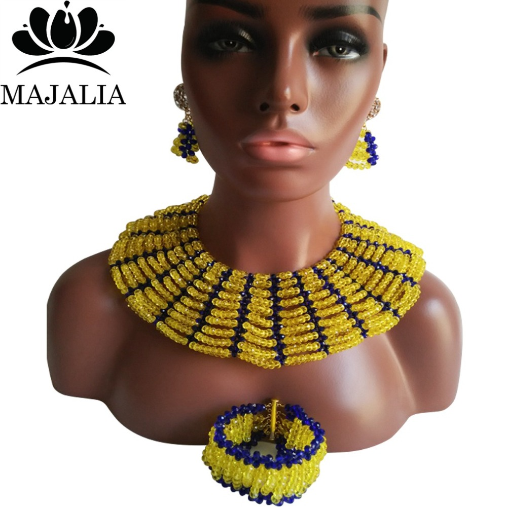 Majalia Classic Nigerian Wedding African Jewelry Set Yellow and Royal blue Crystal Necklace Bride Jewelry Sets 10SX010Majalia Classic Nigerian Wedding African Jewelry Set Yellow and Royal blue Crystal Necklace Bride Jewelry Sets 10SX010