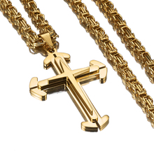 New Stainless Steel Golden Vintage Christian Jesus Cross Pendant With 5mm Byzantine Chain Necklace Men's Boy's Jewelry Xmas Gift