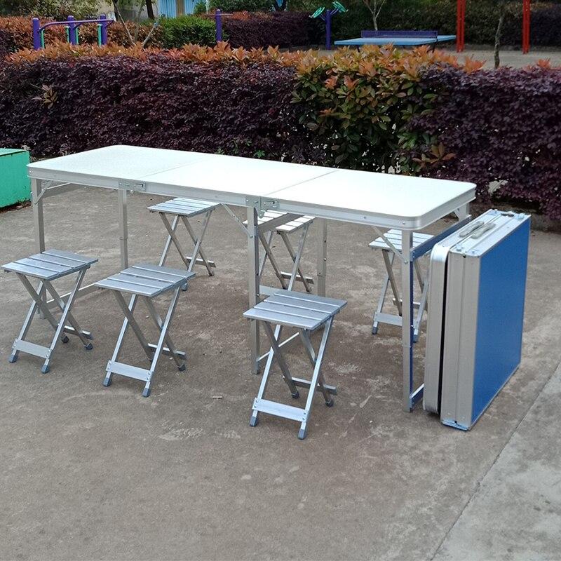 Mesa portátil al aire libre extensible escritorio multifunción para barbacoa de Camping con taburete plegable levantada mesa de comedor y silla estable