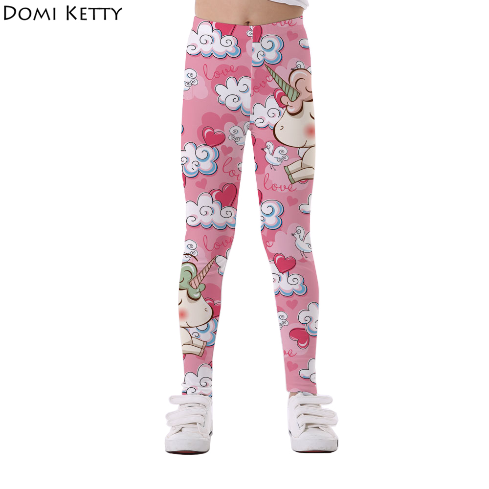 Domi Ketty girls leggings children print unicorn flowers bird casual fitness elastic leggings kids cartoon pants trousers watercolor print leggings