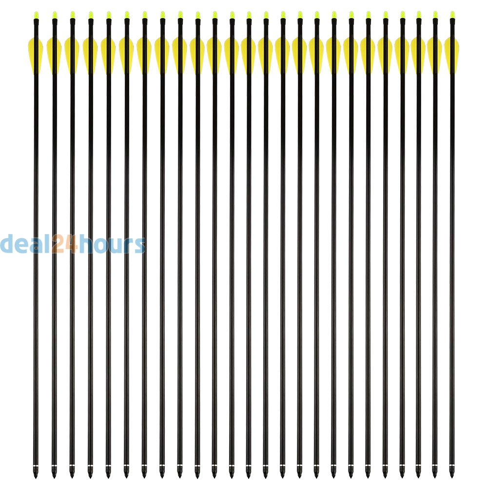 25Pcs 30 Archery Arrow Fiberglass Fiber glass Hunter Fletched Arrows Target Practice Hunting