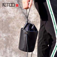 AETOO Retro Drum Bag Leather Coat Mini Messenger Handbag Cylindrical