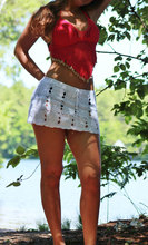 FREE SHIPPING !! Hand Crochet Dropped Waist Pencil Mini Skirt JKP982