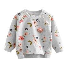 Пуловер с капюшоном и цветочным принтом для девочек Повседневный свитер с длинными рукавами для малышей Топы, детский пуловер, одежда для девочек 2, 3, 4, 5, 6 лет