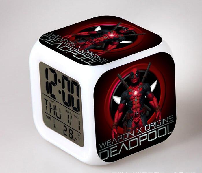 Marvel Deadpool Superhero Clocks American Action Figure Glowing Clock LED Colorful Glowing Digital Alarm Clock Hot Toy