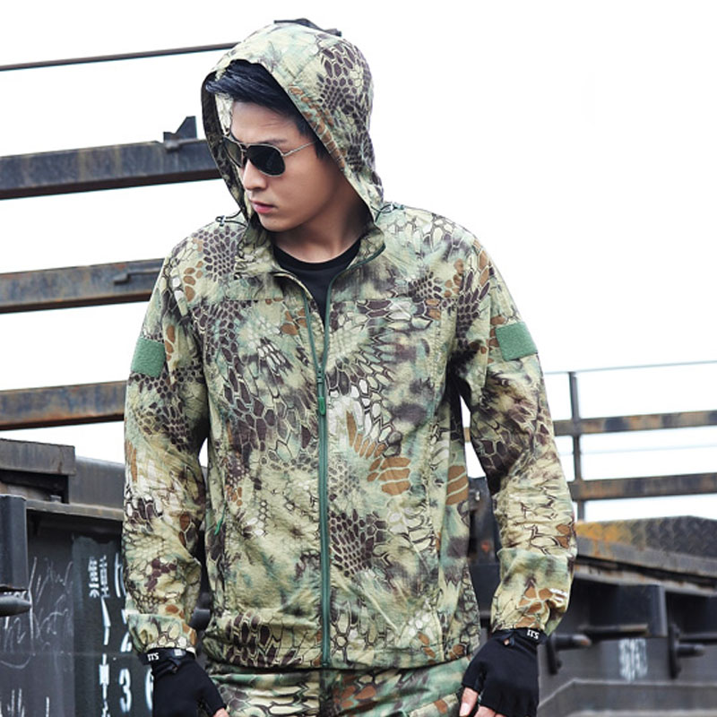 Tactical Jacket Military Army Softshell Camouflage Clothes Men Thin Coat Hooded Windbreaker Spring Autumn Fast Dry Jacket ACU-in Jackets from Men's Clothing    1