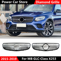 For GLC class X253 grille Car Front Grill Diamond Grille for Mercedes GLC class X253 Silver Chrome black Design ABS replacement