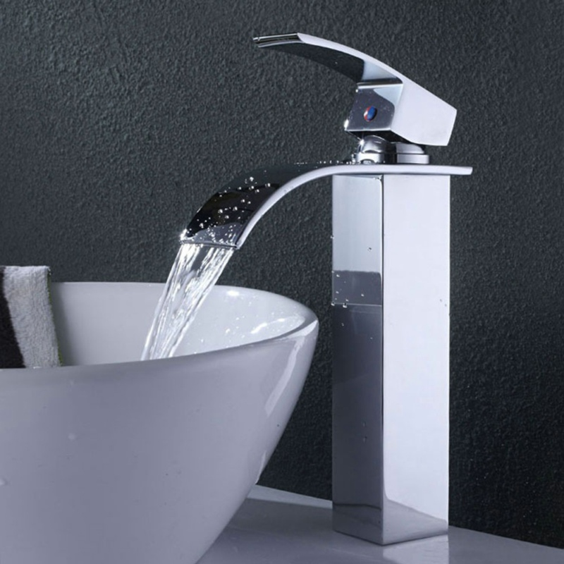 ФОТО Free shipping deck mounted bathroom taps hot and cold water waterfall basin faucet LT-503B