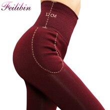 Feilibin, зимние женские леггинсы, толстые зимние теплые штаны, высокая талия, для похудения, утолщенные, высокие эластичные, женские теплые бархатные леггинсы