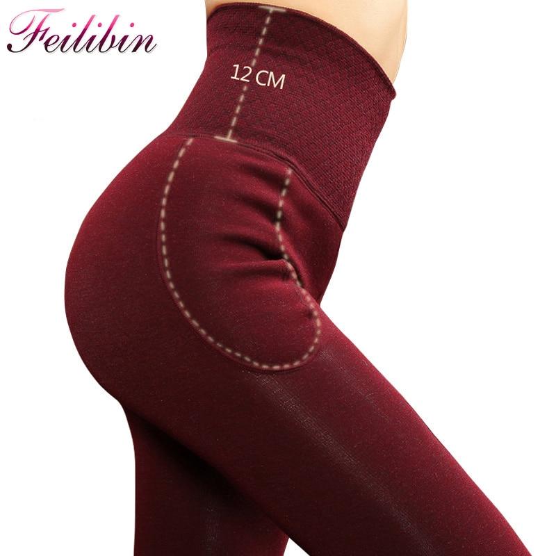 Feilibin Winter Women Leggings Thick Winter Warm Pants High Waist Slimming Thicken High Elastic Women's Warm Velvet Leggings