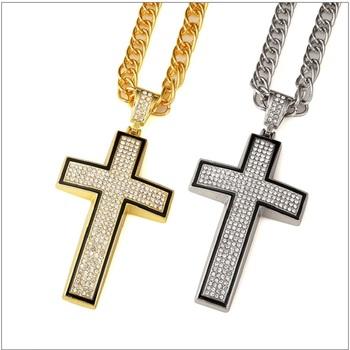 Fashion Design Male Charm Big Necklace Cross Pendant Cool Full Rhinestone Filling Pieces Men Hip Hop Rock Jewelry Long Necklaces