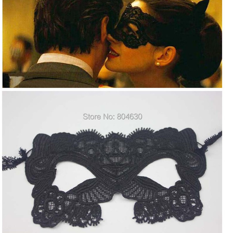 Black Lace Mask Catwoman Batman Anne Hathaway Masked Ball Halloween Masquerade Party Dress Costume 10 - Caly Tao's store