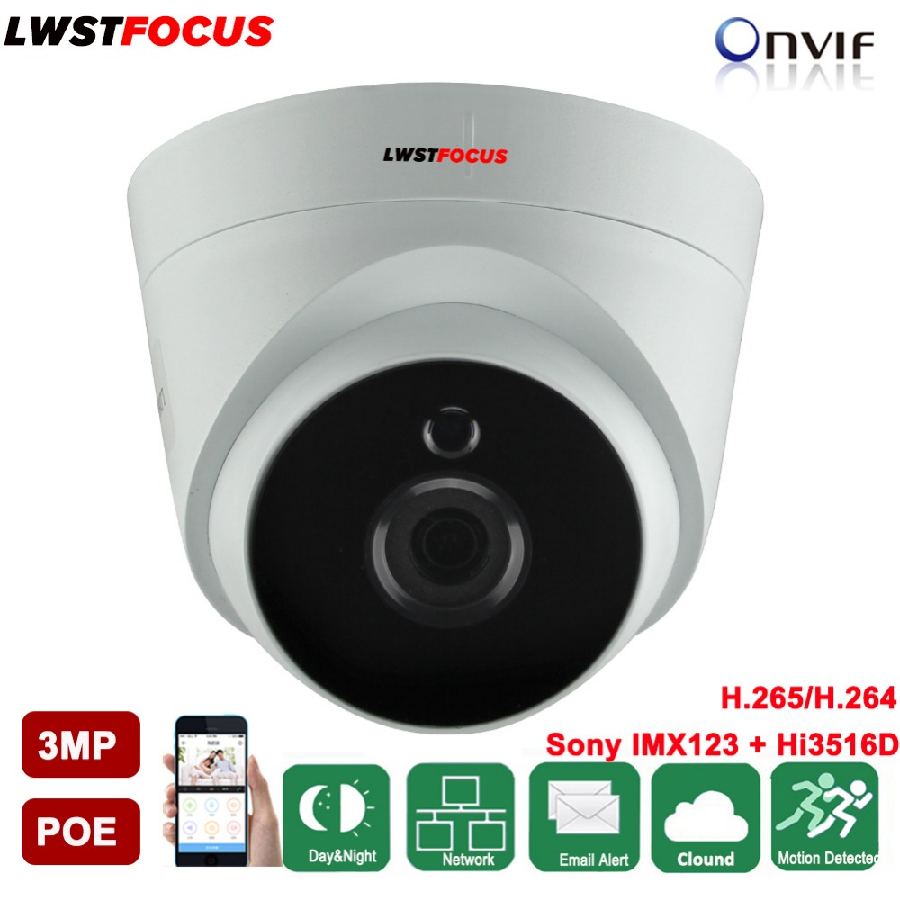 LWSTFOCUS Wide Range 2.8mm lens IP Camera 3MP Network Mini Dome Camera Support FREEIP Remote View Hikvision Private Protocal POE a private view