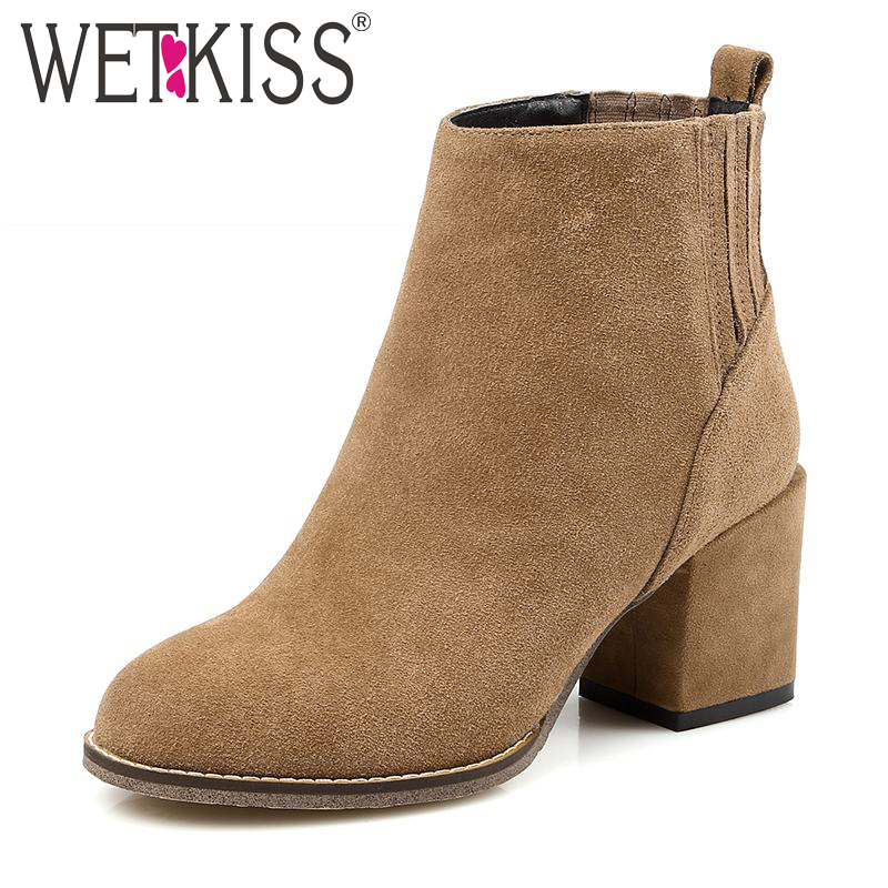 WETKISS 2016 Genuine Leather Women Boots Concise Slip On Fall Winter Boots Cozy Thick Heels High