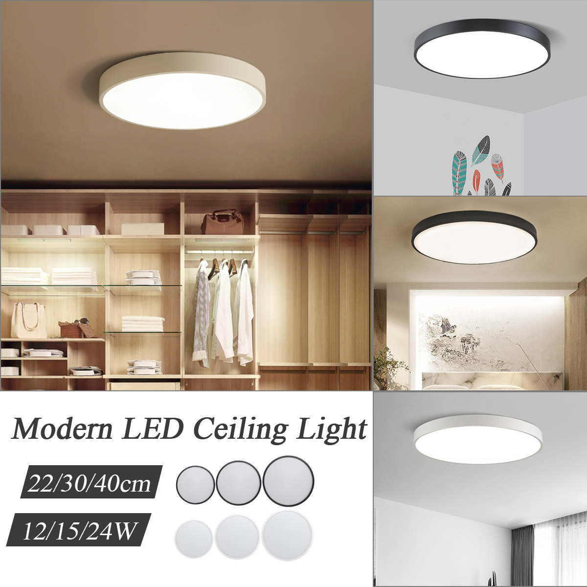 12/15/24W Modern Ultra Thin LED Ceiling Lights Panel Down Lighting Ceiling Lamp Surface Mount for Living Room Kitchen Bedroom