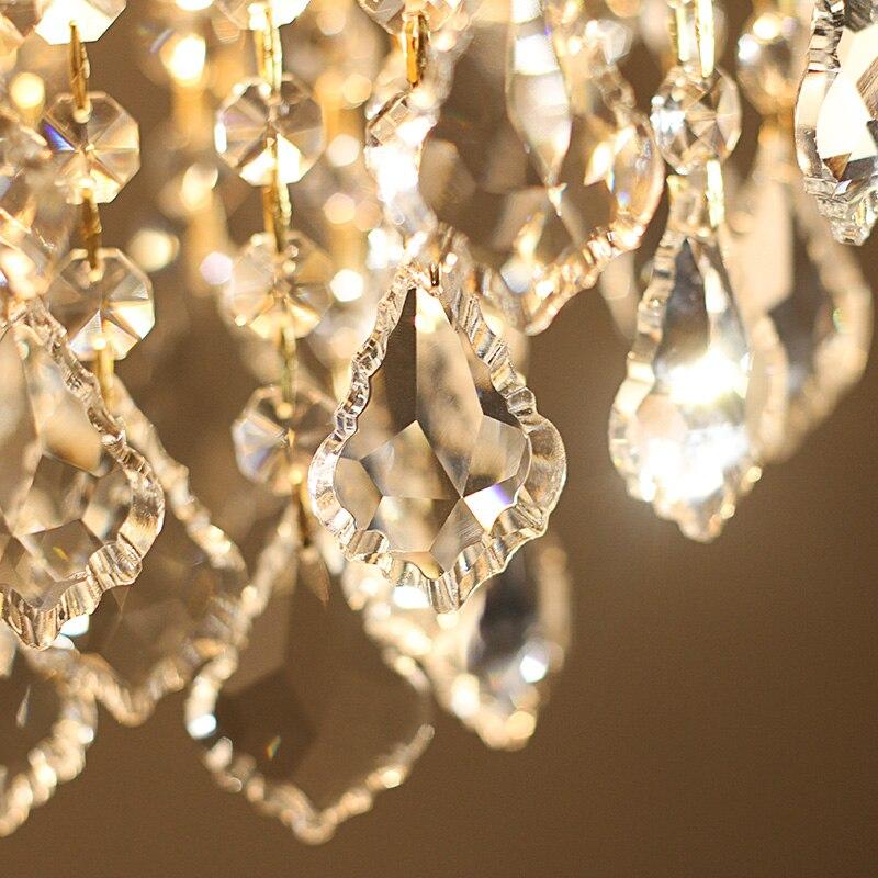 Or 1 pièces porche lumière café salle à manger Mini pendentif lampe en cristal Led méditerranée mer E27 fer cristal cuisine éclairage - 3