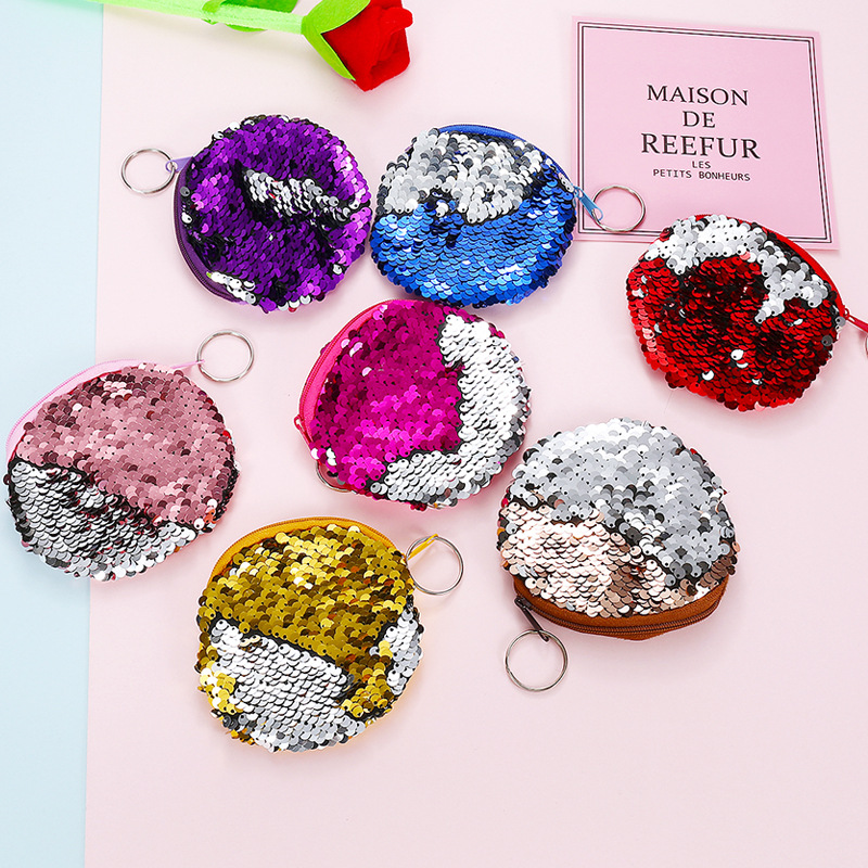 PACGOTH 2018 New Sequined Keychain Plush Corduroy Coin Purse Round Fashion Coin Bag Zipper Headphone Card Money Pouches 1PC pacgoth creative pvc waterproof cute carton candy color purse dessert donuts summer sweet hearts zipper coin purses money bag