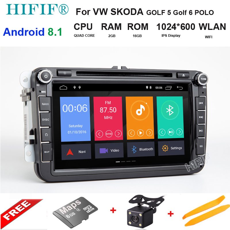 2G Android 8.1 multimedia DVD For SEAT Leon Altea Alhambra Toledo GOLF 5 GOLF 6 POLO PASSAT B6 Octavia Fabia Rapid Yeti Superb