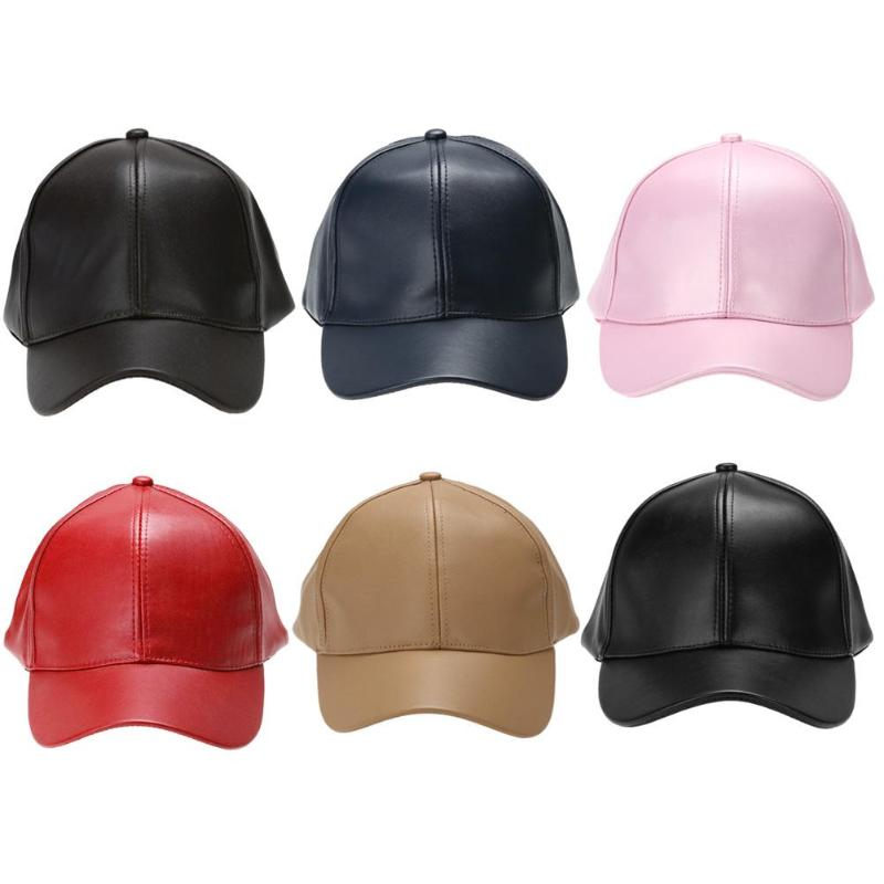 <font><b>Unisex</b></font> Men Women PU Leather <font><b>Baseball</b></font> <font><b>Cap</b></font> Snapback Outdoor <font><b>Sport</b></font> Adjustable Fashionable Hat Red/khaki/black/pink/navy blue/brown image