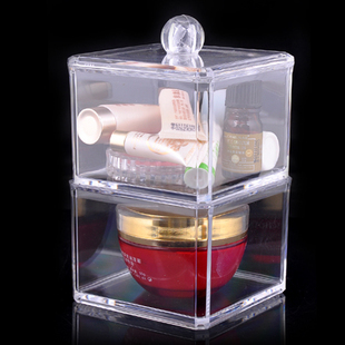 Bon magasin déclaré cristal clair boîte de rangement cosmétique bureau stockage PACKER 2 couche coton-tige en gros poste