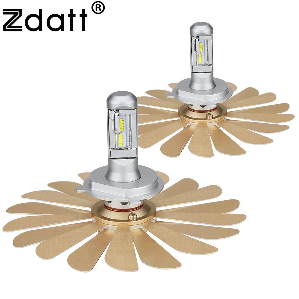 Zdatt H4 H7 H11 H1 9005 9006 H16 Fanless Car Led Light Auto Headlights Bulb ZES 12000Lm 6000K 100W 12V LED Automobiles With Gift