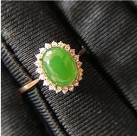 Natural Jasper 18k gold ring Natural and Real Jasper Fine jewelry Fine gems rings 6*8mm