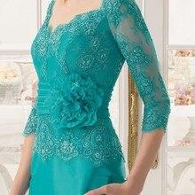 Новое модное зеленое вечернее платье с рукавами три четверти, длинные кружевные платья для матери невесты,, Vestido De Madrinha,, дешево