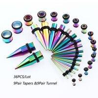 36 STKS/1 set rvs oor Tapers en Stekkers Stretchen Kit Ruimer Meters Flesh Piercing Expander 1.6mm-10mm/14G-00G