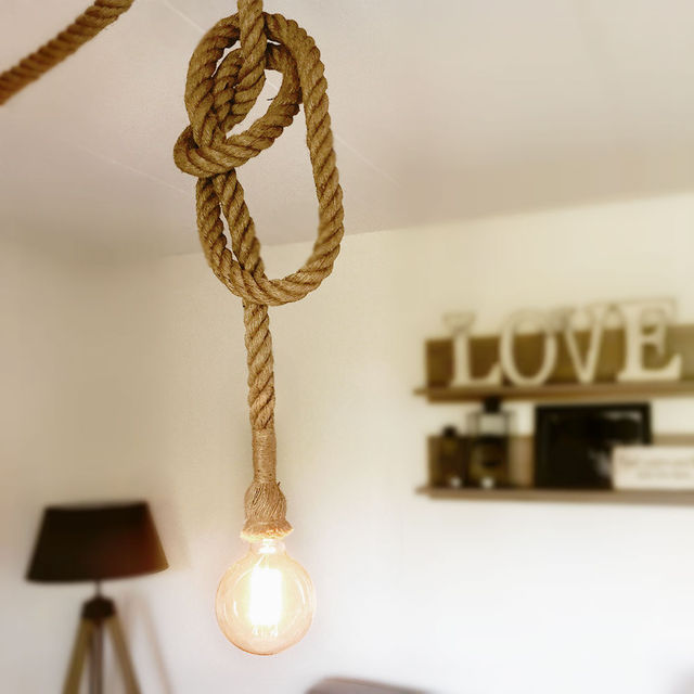 Retro Vintage Rope Pendant Light Loft Edison Style For Living Room +Black  Plate Vintage Restaurant