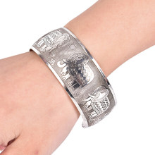 Wide Tibet Silver Plated Totem Cuff Bracelets Bangles Beautiful Vintage Elephant Tortoise Printing Bracelets(China)