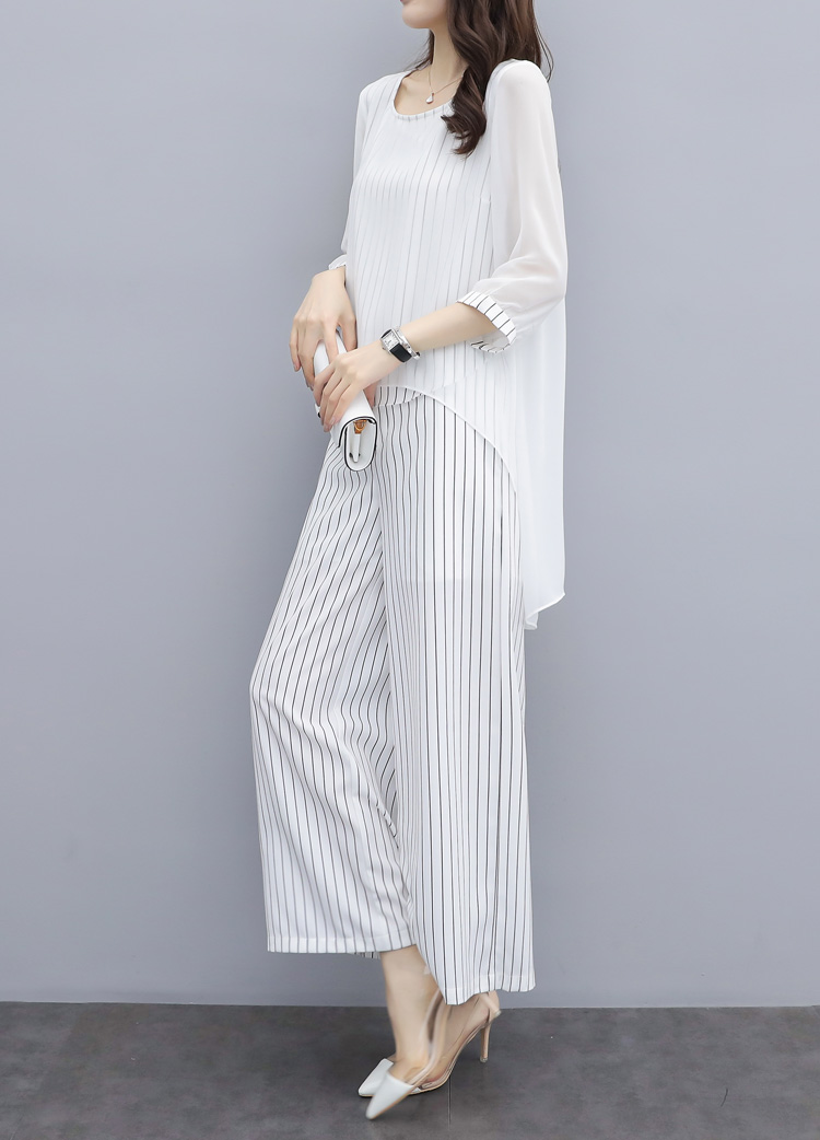 HTB1fE.KXQxz61VjSZFrq6xeLFXaV - S-3xl Summer Chiffon 2 Two Piece Sets Outfits Women Plus Size Asymmetrical Blouses And Wide Leg Pants Suits Elegant Korean Sets