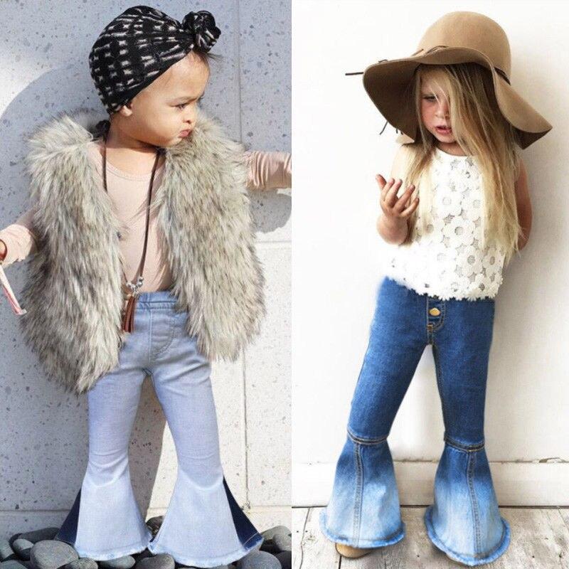 2018 Brand Nieuwe Peuter Baby Kind Kids Baby Meisjes Denim Bell-bottom Lange Broek Hit Kleur Wijde Pijpen Jeans Broek 2 -7 T Bevorder De Productie Van Lichaamsvloeistof En Speeksel