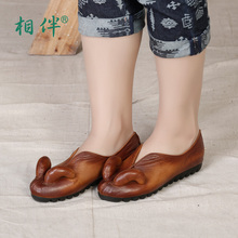 Fashion handmade shoes font b woman b font genuine leather soft casual flats shoes font b